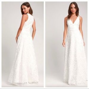 Fausta white embroidered sleeveless maxi dress